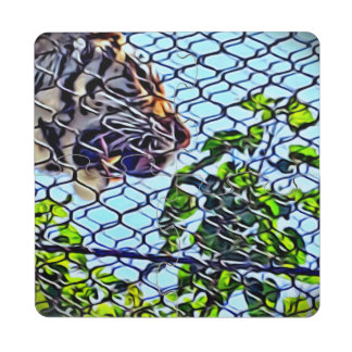 Rugido del extracto del tigre vibrante posavasos de puzzle
