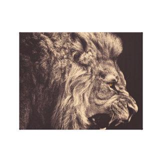 rugido del león del arte del lápiz del león blanco impresion de lienzo