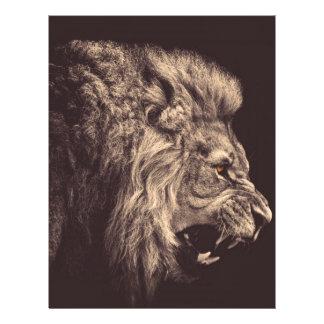 rugido del león del arte del lápiz del león blanco plantilla de membrete