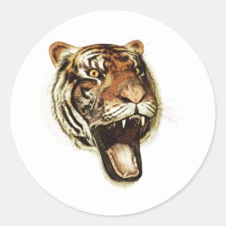 Rugido del tigre pegatinas redondas
