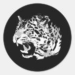 Rugido Jaguar Etiquetas Redondas
