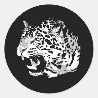 Rugido Jaguar Pegatina Redonda