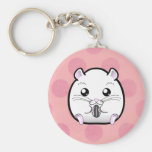 Rugular All White Syrian Hamster Keychain