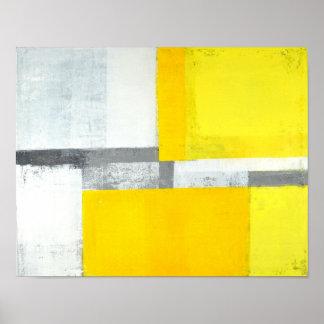 """""""Ruidosamente"""" arte abstracto gris y amarillo Póster"""