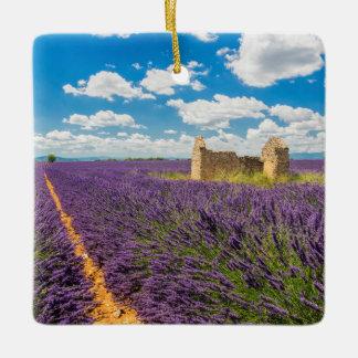Ruin in Lavender Field, France Ceramic Ornament