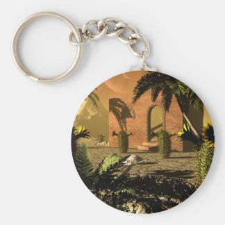 Ruin in the sunet basic round button keychain