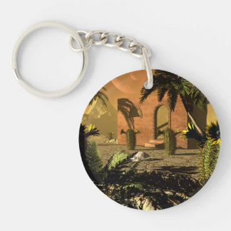 Ruin in the sunet Single-Sided round acrylic keychain