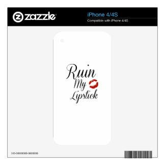Ruin My Lipstick - Typographic Design iPhone 4 Skins