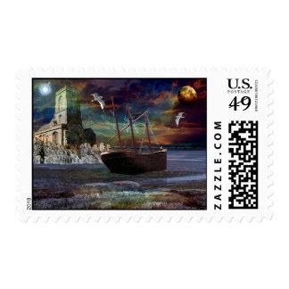 Ruina de la nave en la ensenada del duendecillo timbre postal