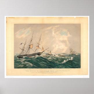 """Ruina del buque de vapor """"San Francisco"""" (1877A) Póster"""