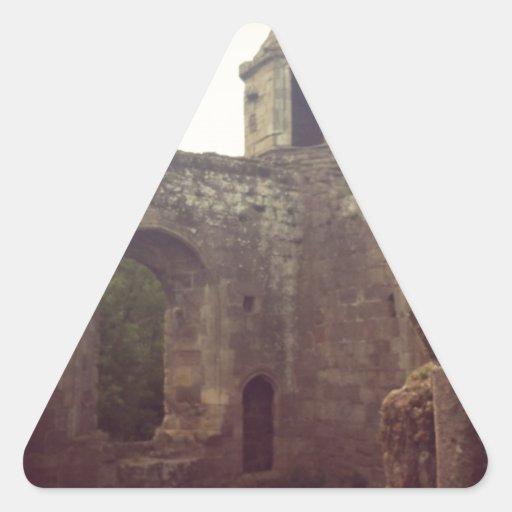 Ruina del castillo pegatina triangular