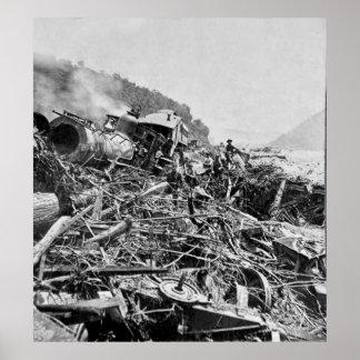 Ruina del tren de la inundación de Johnstown Póster