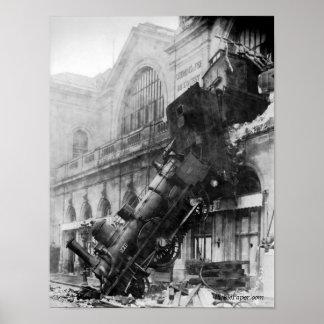 Ruina del tren en el poster 1895 de Montparnasse