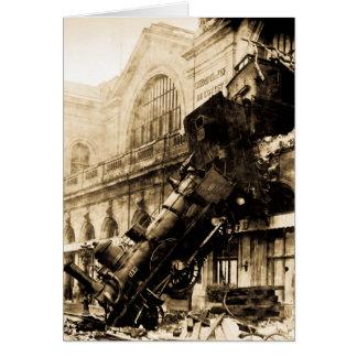 Ruina del tren en el vintage 1895 de Montparnasse Tarjeta De Felicitación