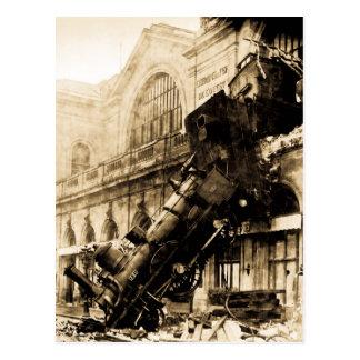 Ruina del tren en el vintage 1895 de Montparnasse Tarjetas Postales