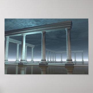 Ruina griega ahogada del templo en el claro de lun impresiones