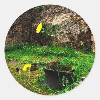 Ruinas antiguas de Pompeya Pegatina Redonda