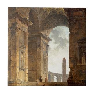 Ruinas con un obelisco en la distancia de Huberto Azulejo Cuadrado Pequeño