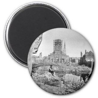 Ruinas de Charleston Carolina del Sur 1865 Imán Redondo 5 Cm