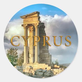 Ruinas de Chipre Etiquetas Redondas