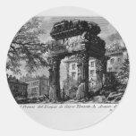 Ruinas de Juan Piranesi- de los pronaos del templo Pegatinas Redondas