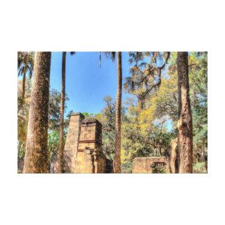 Ruinas de la plantación de Bulow, la Florida Lona Envuelta Para Galerias