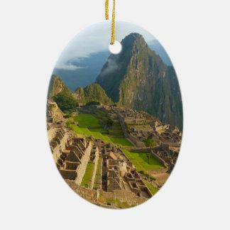 Ruinas de Machu Picchu Adorno Ovalado De Cerámica
