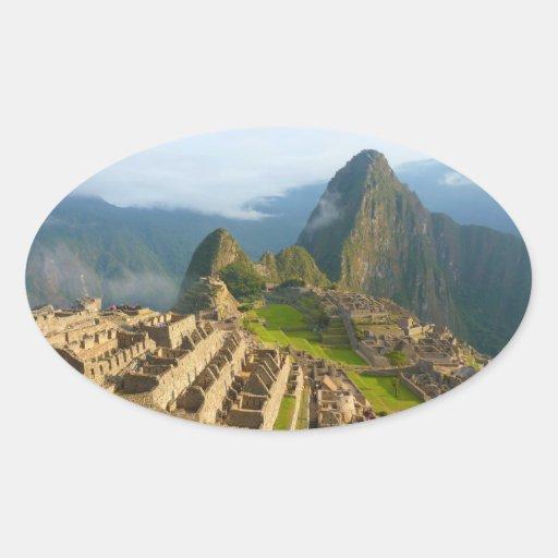 Ruinas de Machu Picchu Pegatinas Óval Personalizadas