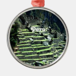 Ruinas de Perú Adorno Redondo Plateado