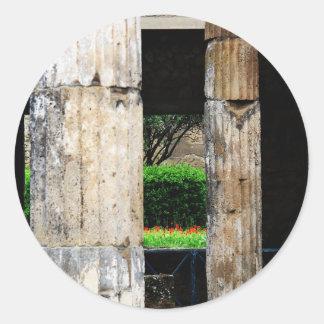 Ruinas de Pompeya - primer de columnas Pegatina Redonda
