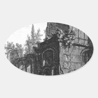 Ruinas de uno de los soldados del ` de las cámaras pegatina ovalada