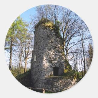 Ruinas del castillo pegatina redonda