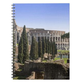 Ruinas del Colosseum romano de IL Palatino, Libreta Espiral