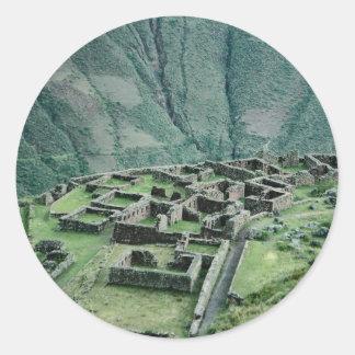 Ruinas del inca, Pisac, Perú Pegatina Redonda