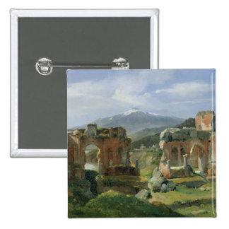 Ruinas del teatro en Taormina Pin Cuadrada 5 Cm