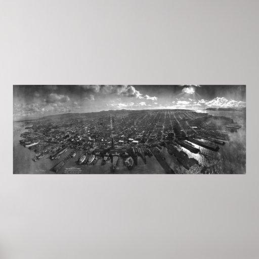 Ruinas del terremoto de San Francisco del panorama Póster