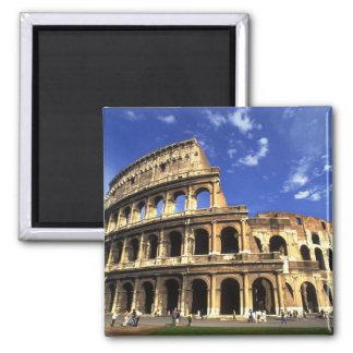 Ruinas famosas del coliseo en Roma Italia Imán Cuadrado