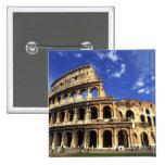Ruinas famosas del coliseo en Roma Italia Pin Cuadrada 5 Cm