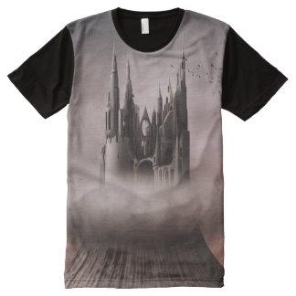 Ruinas góticas del castillo por todo la camiseta playeras con estampado integral