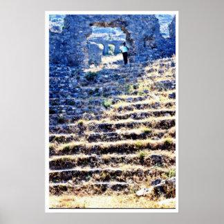 Ruinas grecorromanas en la costa de la turquesa impresiones
