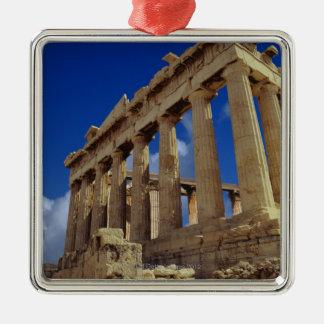 Ruinas griegas, acrópolis, Grecia Adorno Cuadrado Plateado