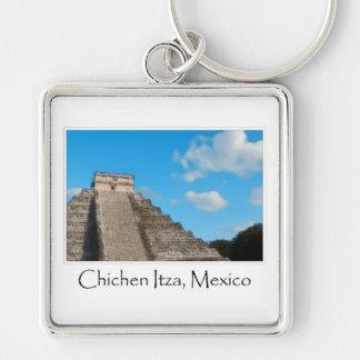 Ruinas mayas de Chichen Itza México Llavero Cuadrado Plateado