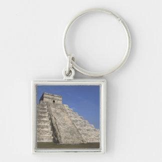 Ruinas mayas en Chichen Itza, pirámide de Kukulcan Llavero Cuadrado Plateado