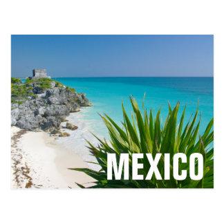 Ruinas mayas en la playa en Tulum Tarjetas Postales
