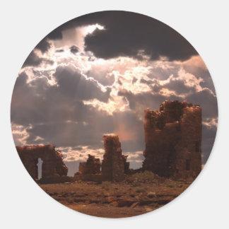 Ruinas Pegatina Redonda