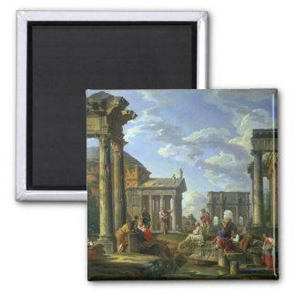 Ruinas romanas con un profeta, 1751 imán de frigorífico