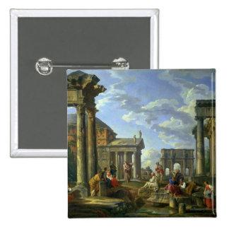 Ruinas romanas con un profeta, 1751 pin cuadrada 5 cm
