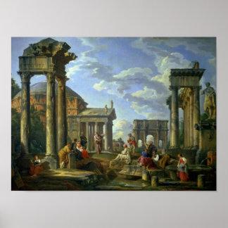 Ruinas romanas con un profeta, 1751 póster