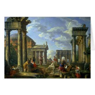 Ruinas romanas con un profeta, 1751 tarjeta de felicitación