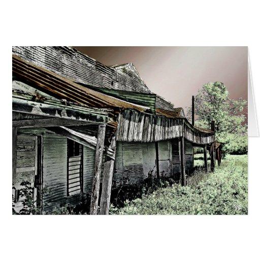 Ruinas viejas de la tienda en Dale, TX Felicitaciones